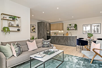 Two bedroom apartment showing lounge and kitchen in Millbrook Park NW7